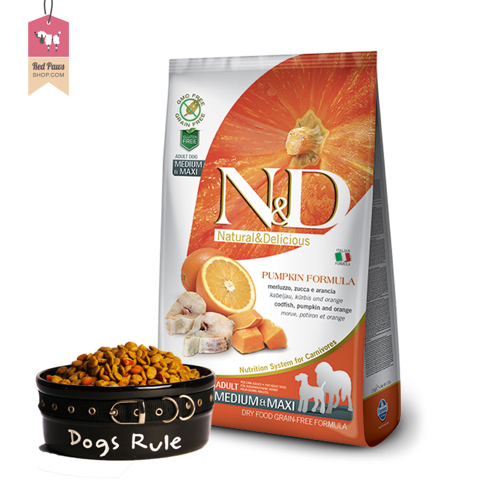 N & D Pumpkin Grain Free - Codfish & Orange Adult Medium & Maxi 12 Kgs