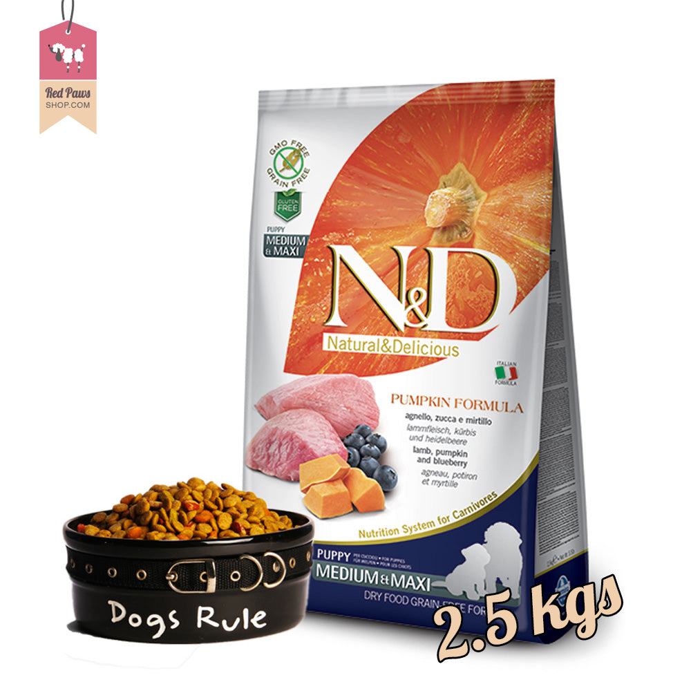 N & D Pumpkin Grain Free - Lamb & Blueberry Puppy Medium & Maxi 2.5 Kgs