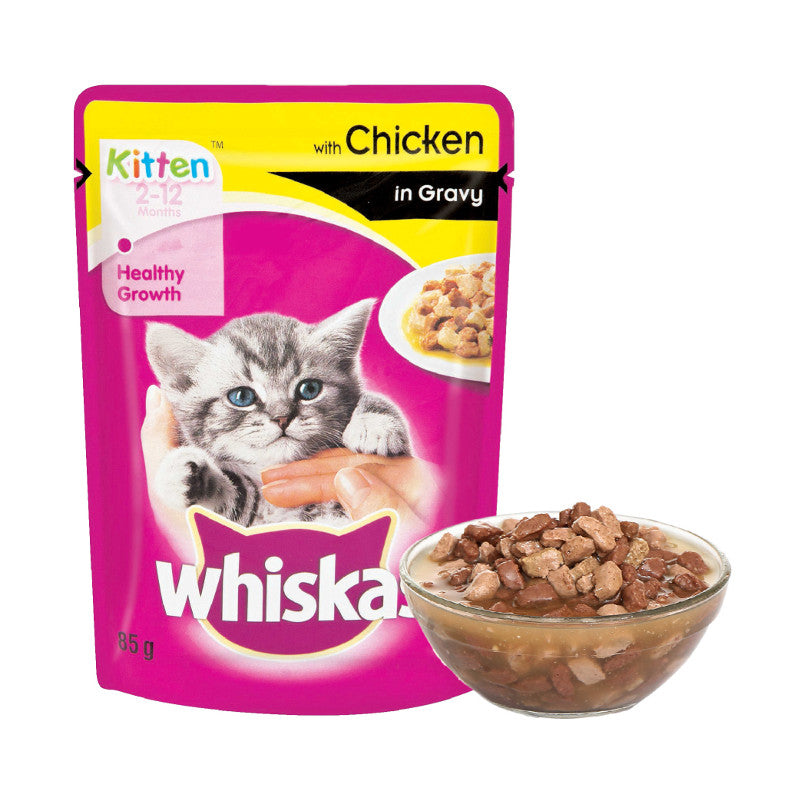 Whiskas Kitten Wet Food Chicken Pouches (Pack of 12)