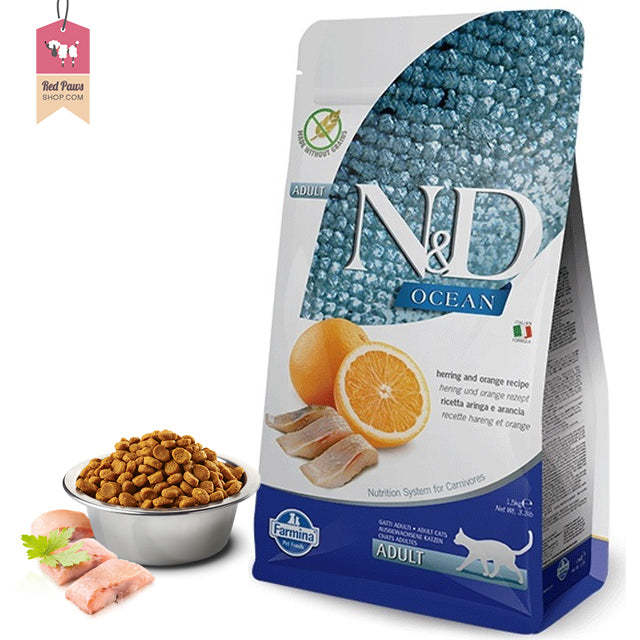 N & D Ocean Grain Free Herring & Orange Adult Cat Food 1.5 kgs