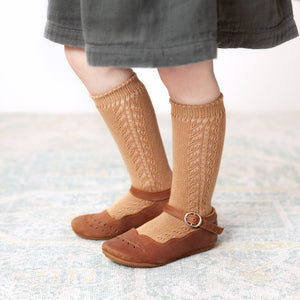 Crochet Knee Socks, Camel