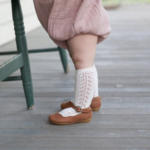 Crochet Knee Socks, Cream