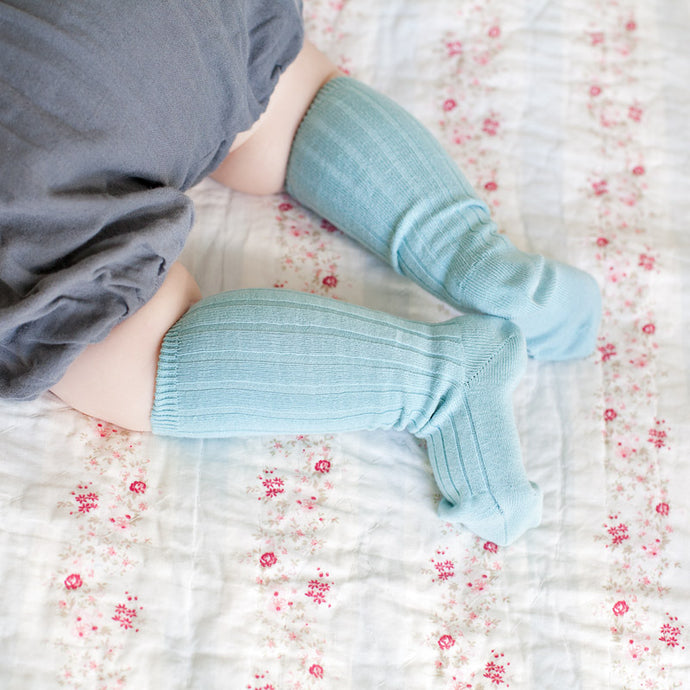 Ribbed Knee Socks, Ice Blue