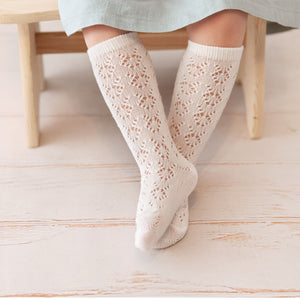 Perle Openwork Knee Socks, Cream