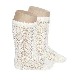 Crochet Folklore Knee Socks, Ivory