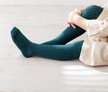 Ribbed Tights, Teal Blue