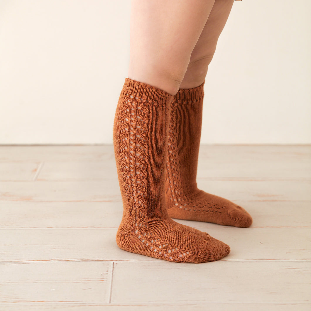 Crochet Knee Socks, Rust