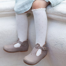 Pointelle Non-Slip Knee Socks, Off-White