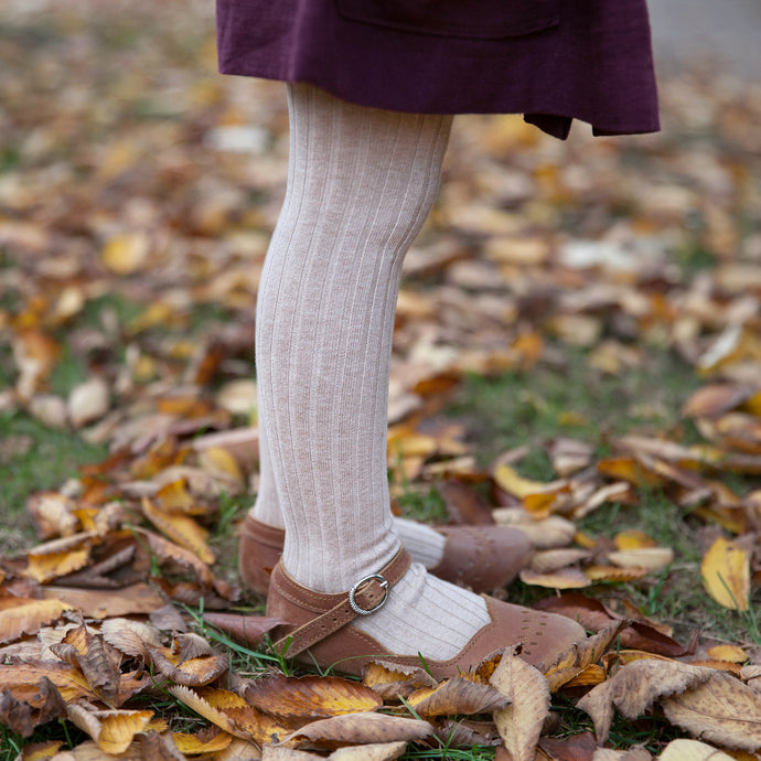 Ribbed Tights, Heather Oatmeal