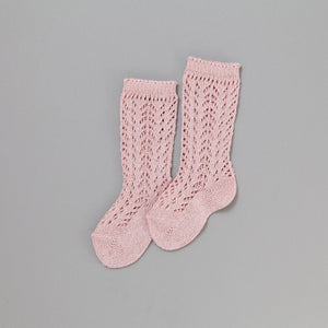 Shimmer Crochet Knee Socks, Champagne Rose