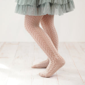 Folklore Crochet Tights, Vintage Rose