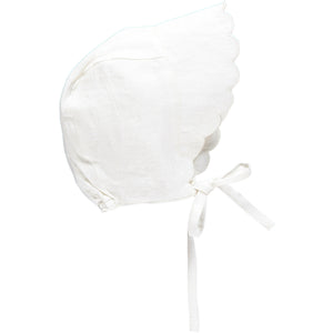 Linen Scalloped Bonnet, Cream