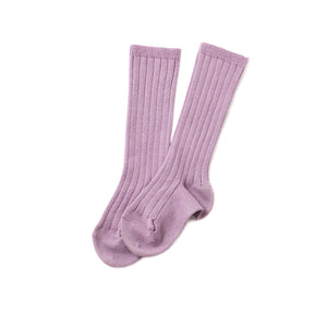 Ribbed Knee Socks, Amethyst