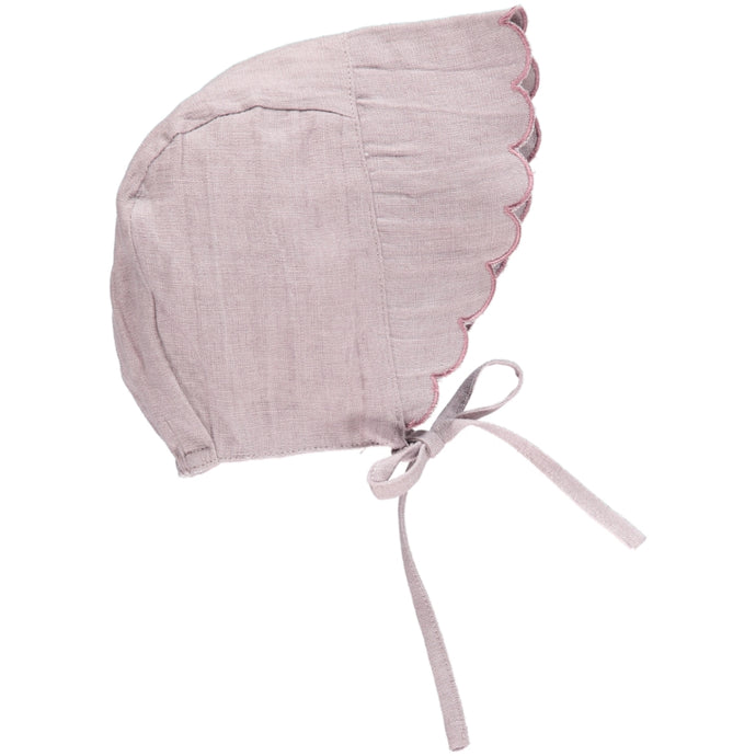 Linen Scalloped Bonnet, Dusty Mauve