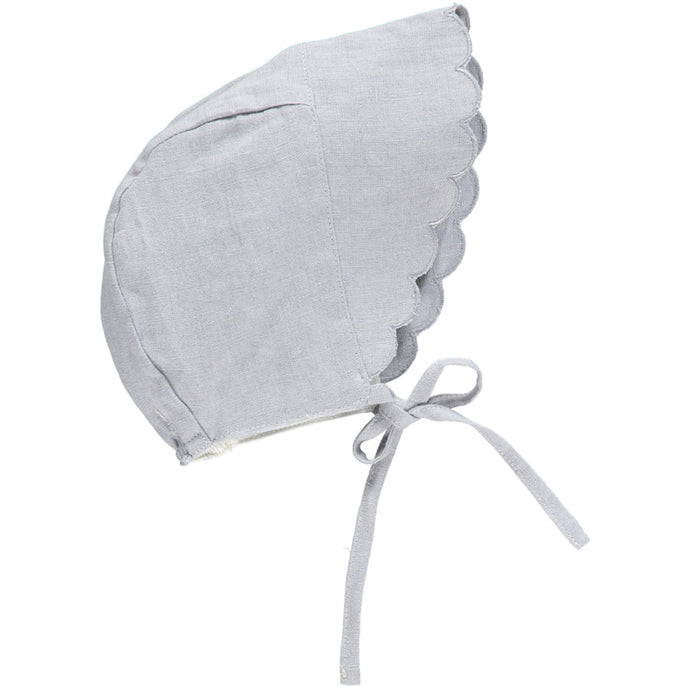Linen Scalloped Bonnet, Pearl