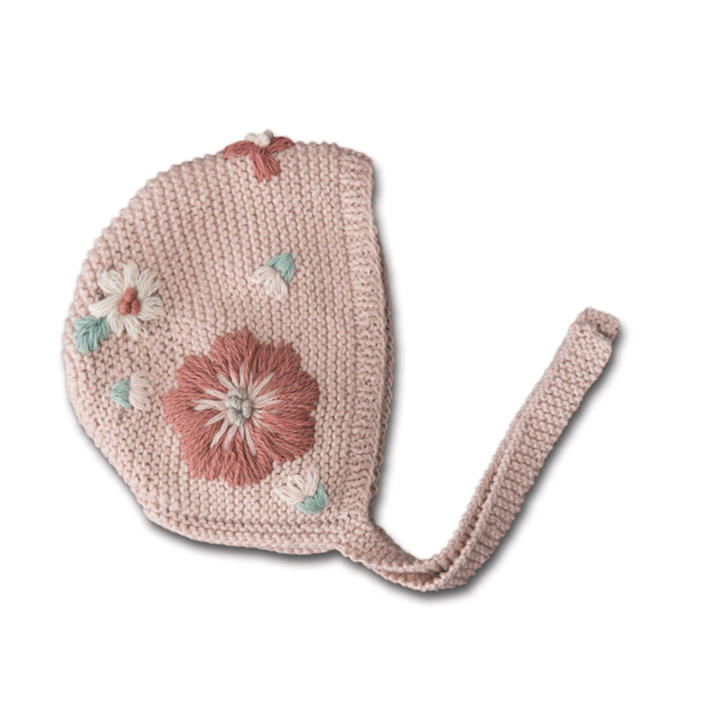 Flora Embroidered Bonnet, Dusty Pink