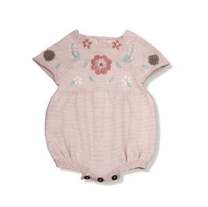 Flora Cotton Romper, Dusty Pink