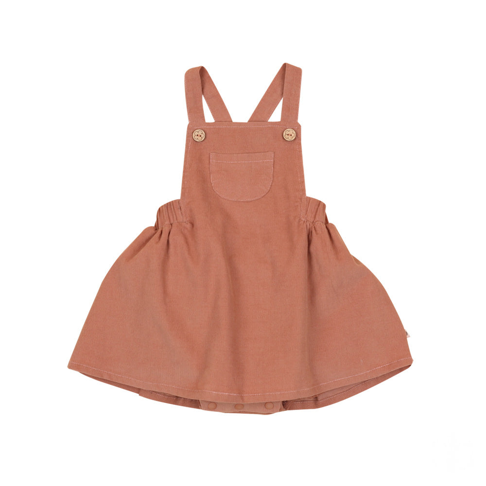 Corduroy Pinafore Dress, Terracotta