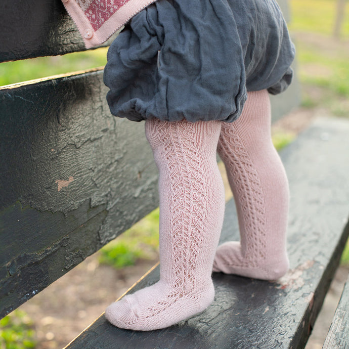Crochet Tights, Dusty Rose