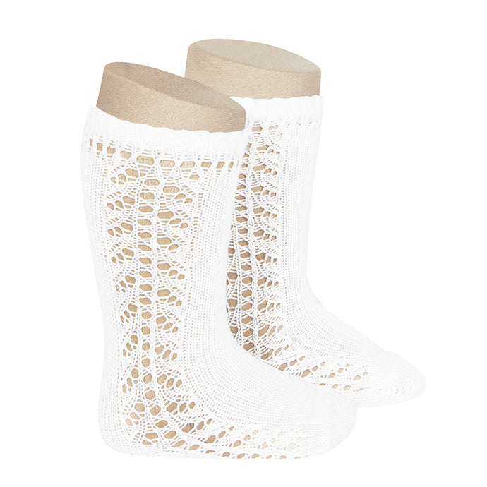 Crochet Knee Socks, White