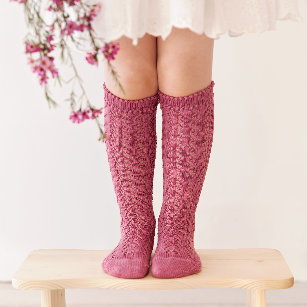 Crochet Folklore Knee Socks, Raspberry