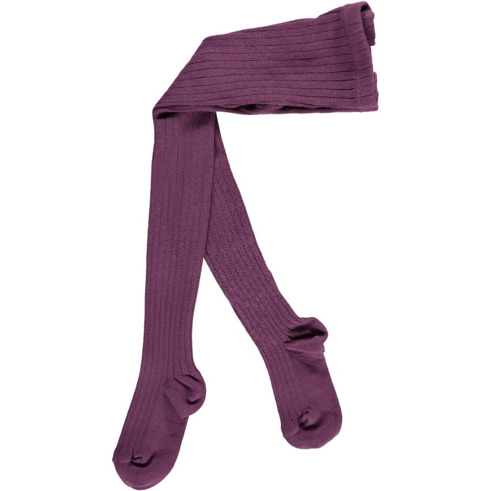 Ribbed Tights, Aubergine