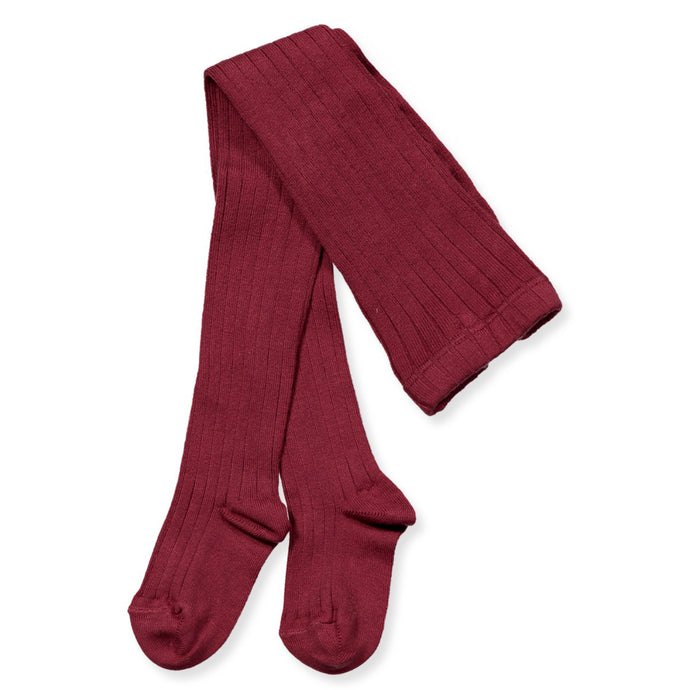 Ribbed Tights, Burgundy