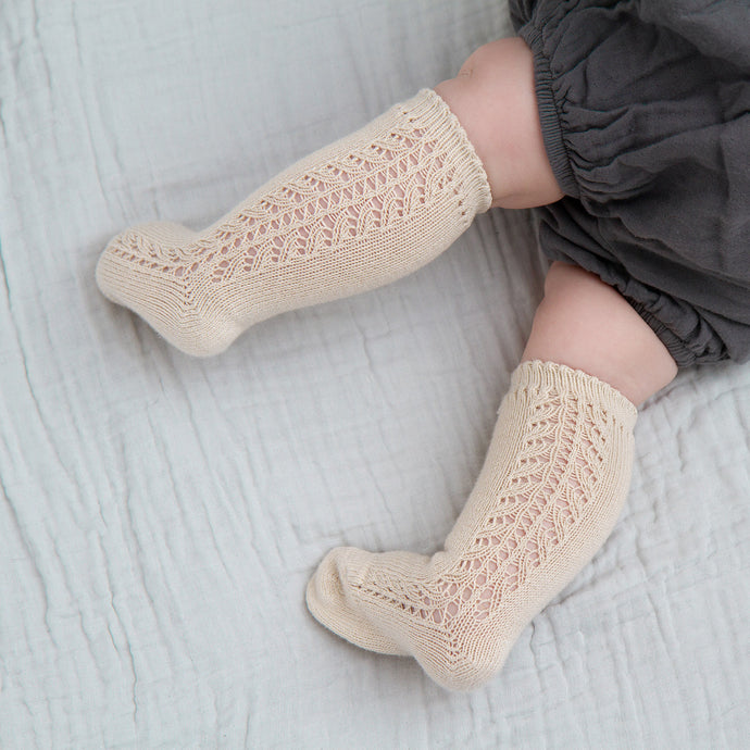 Crochet Knee Socks, Linen
