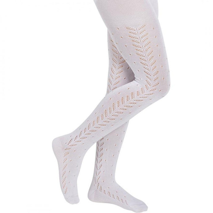 Perle Crochet Tights, Cream