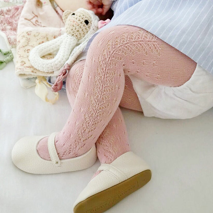 Perle Crochet Tights, Rose