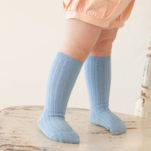 Ribbed Knee Socks, Bluebell