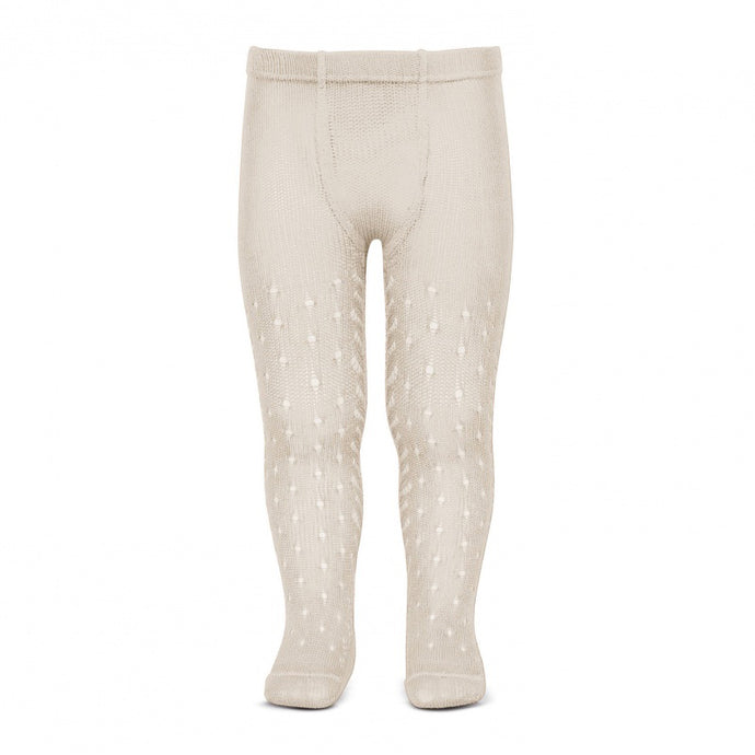 Perle Crochet Tights, Linen