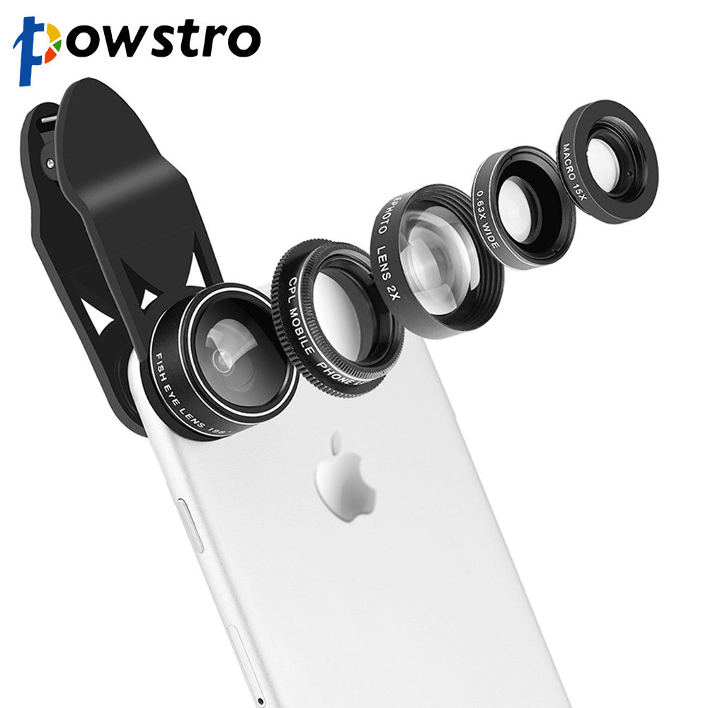 Powstro 5 in 1 Clip-on Phone Camera Lens Kit Wide-Angle Lens + 15X Macro Lens + 198 Degree Fisheye + CPL + 2X Telephoto Lens