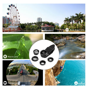 Powstro 5 in 1 Clip-on Phone Camera Lens Wide Angle+198 Fisheye+ 15X Macro + CPL +2X Telephoto Lens For Phones Tablet