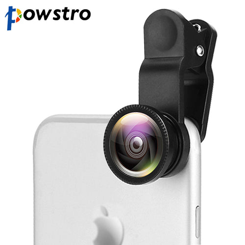 Powstro 3 in 1 Wide Angle Macro Fisheye Lens Camera Mobile Phone Lenses Fish Eye Lentes Universal For iPhone Android Phone