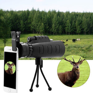 Powstro Universal Telescope Phone Lens 40x60 HD  zooming Optical Monocular with Clip and Adjustable tripod for Compass Phone