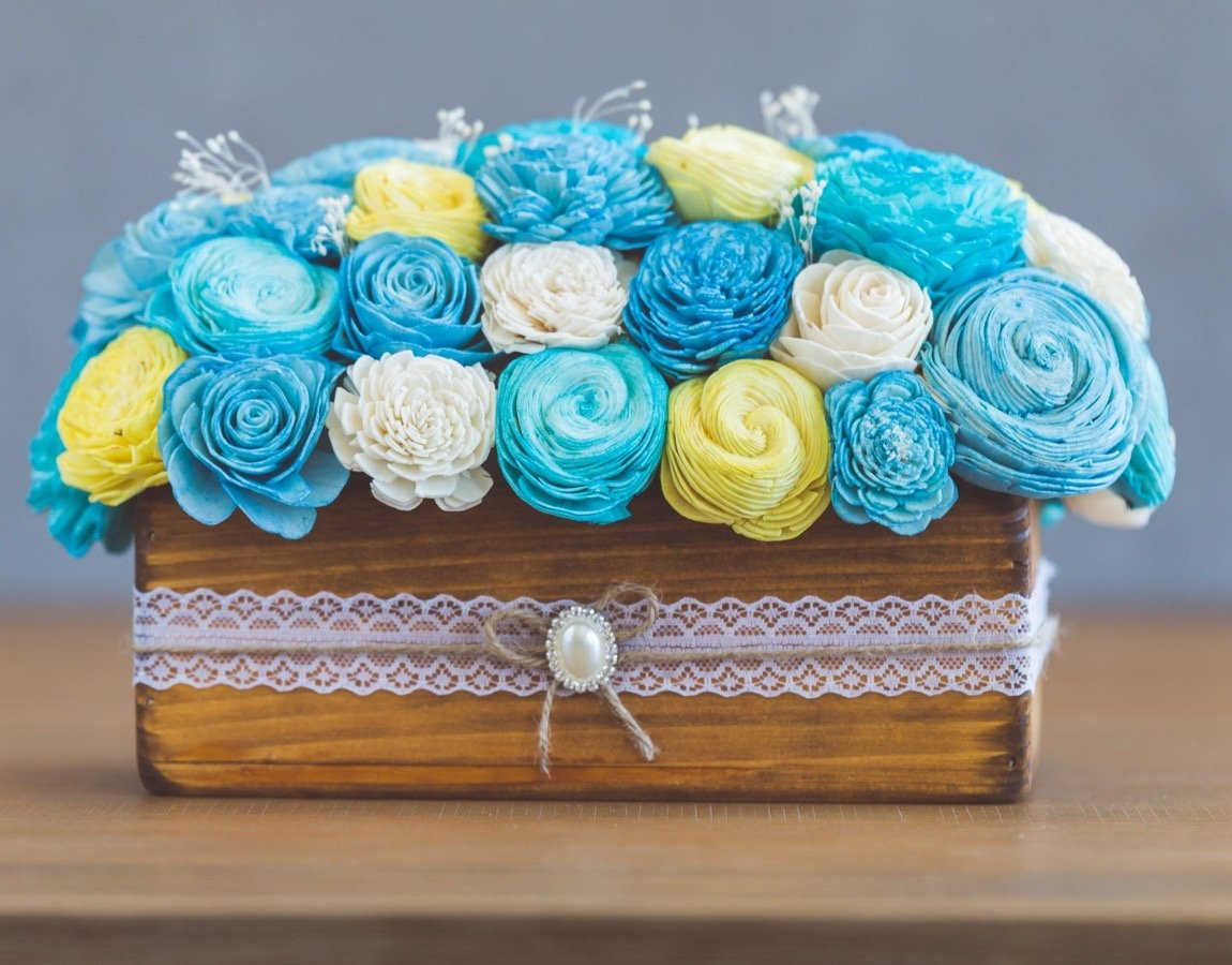 Sola Wood Flower Centerpiece - Baby Boy Centerpiece