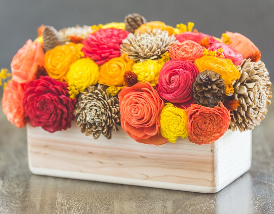 Sola Wood Flower Centerpiece - Fall Centerpiece