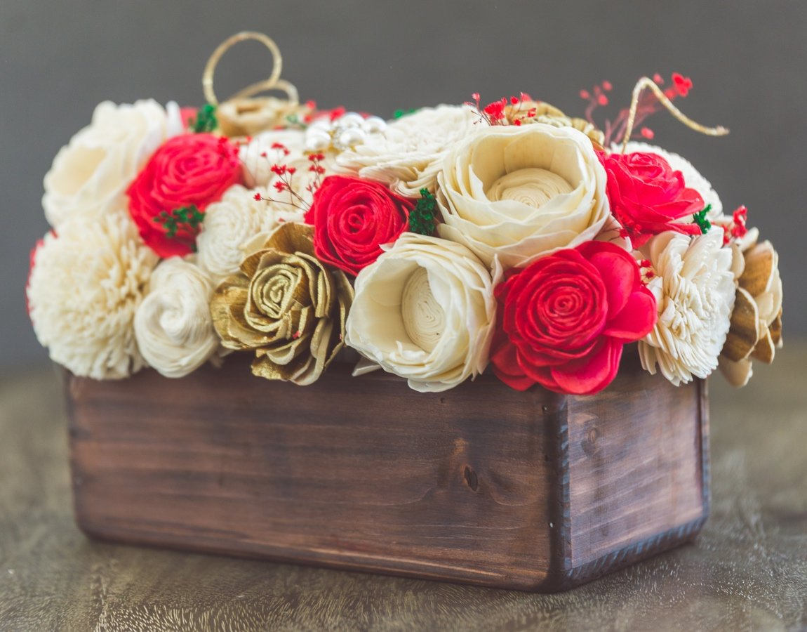 Sola Wood Flower Centerpiece - Christmas Centerpiece
