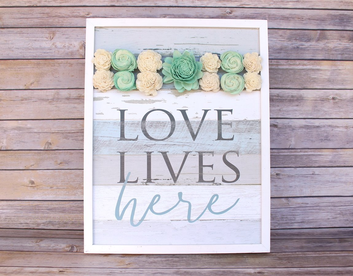 """Love Lives Here"" Wood Sign"