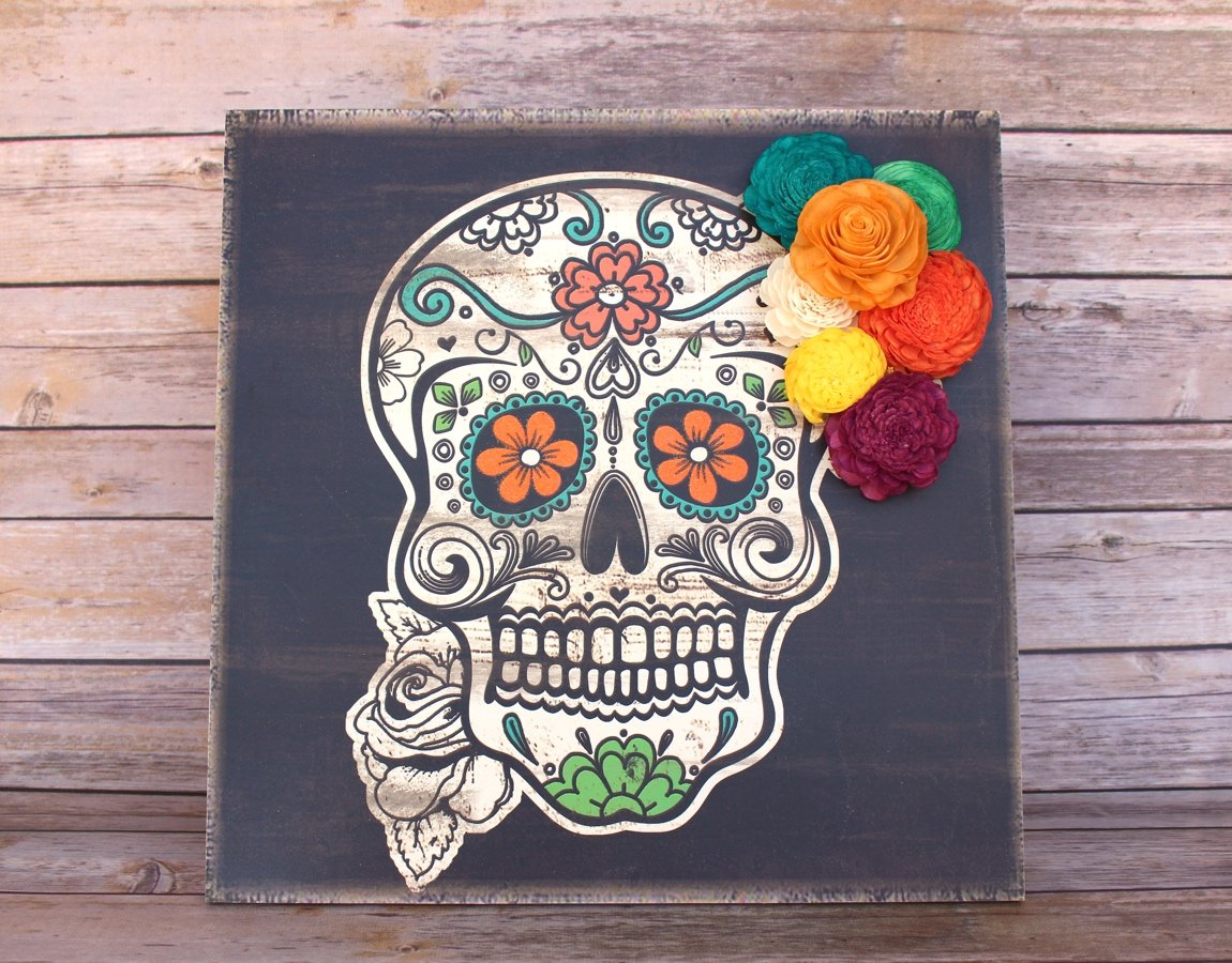 Sugar Skull Wood Sign