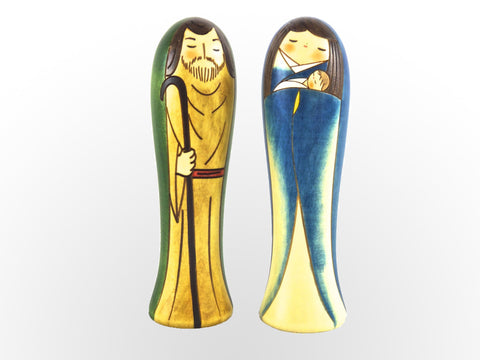 2-pc tall Kokeshi Nativity Set
