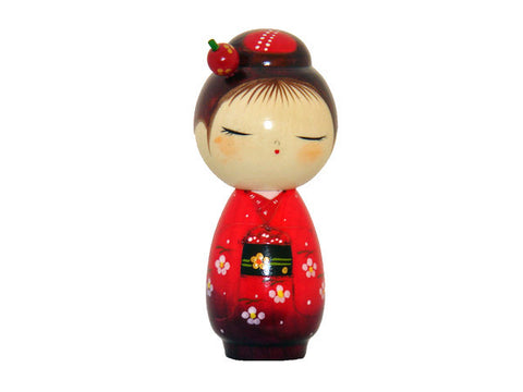 Hanadayori Kokeshi Doll with Flower Accents T-10