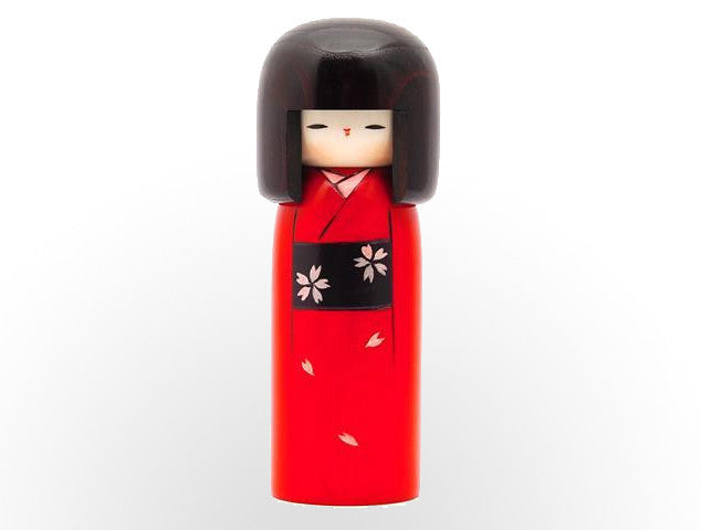 Haregi  Beautiful red kimono and black obi with sakura blossom design kokeshi U-22