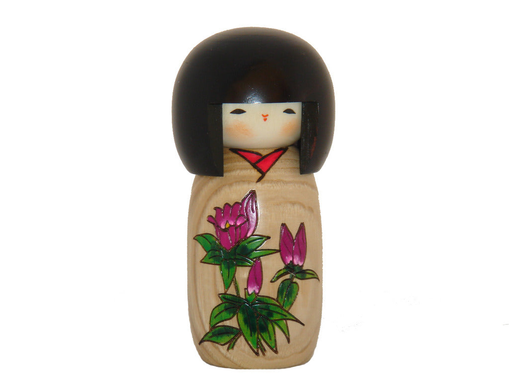 Hanamonogatari Rindoh, Natural wood color kokeshi with Gemtian  U-9-7
