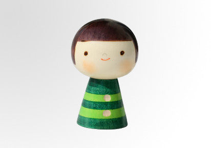 Bokuchan Kokeshi doll with green striped with carved buttons U-7-40