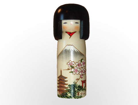 Fujisan Kokeshi doll with Mt Fuji, Cherry Blossoms, Red Tori Gate, Pagoda U-11-1