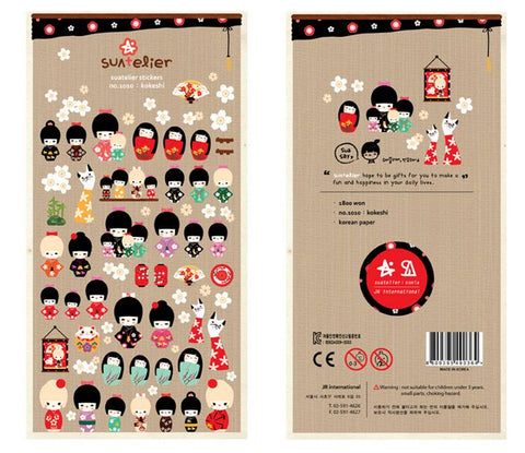 Kokeshi Girl Stationery DIY Scrapbooking Stickers