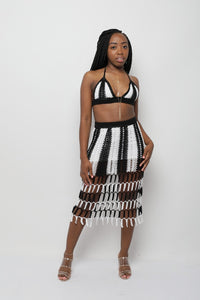 Striped Crochet Skirt Set