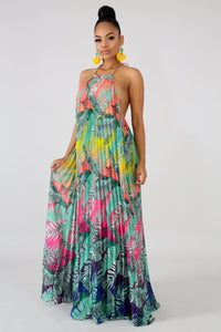 Tropical Palm Leaves Maxi Dress